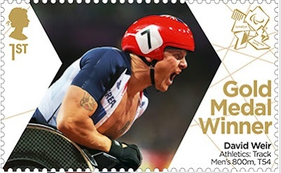 Paralympics Gold Medal Winner stamp - Athletics: Tack Men's 800m, T54, David Weir.