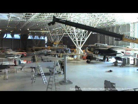 Lifting the Nieuport 12 at the Canada Aviation and Space Museum