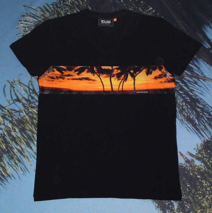 TONI MONTANA SUNSET muscle fit v-neck tee Made by SCUSA in SONNY BLACK more info: www.scusa.com