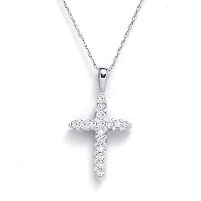 Diamond cross necklace.