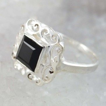 Onyx Black Stone 925 Sterling Silver Ring for Women