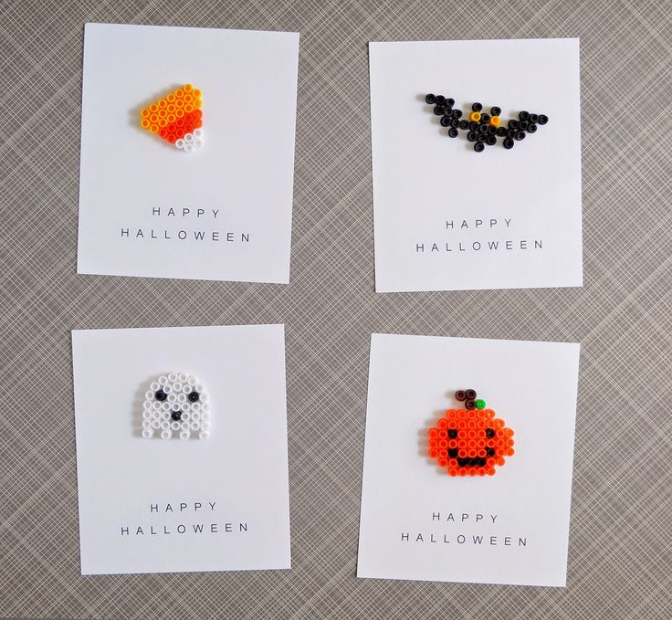 halloween party favors: perler beads + printable cards