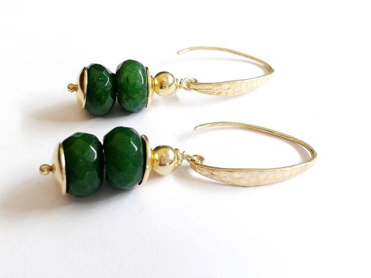 orecchini argento 925 placcato oro e radice di smeraldo : Orecchini di tizianatar