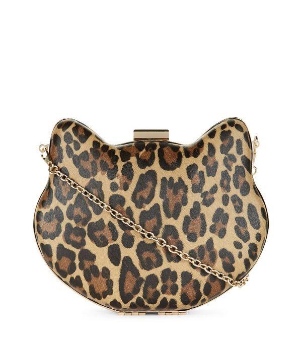Brown Leopard Print Cat Box Clutch Bag | New Look