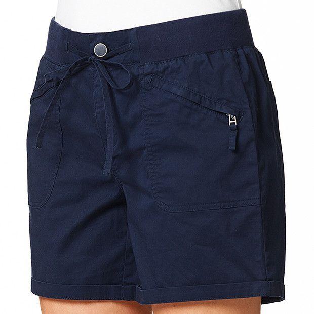 Rib Waist Cotton Shorts - Navy