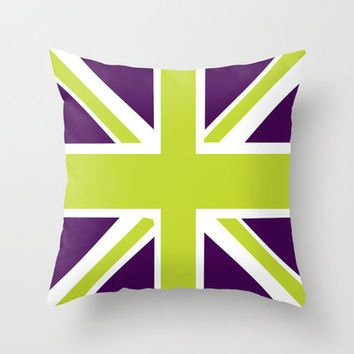 Union Jack Green Purple Throw Pillow by Adidit | Society6
