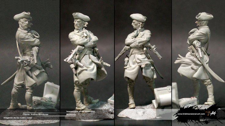 Pirate Clay modeling Modelado escultura 54mm.Pirata Pasta epoxi,