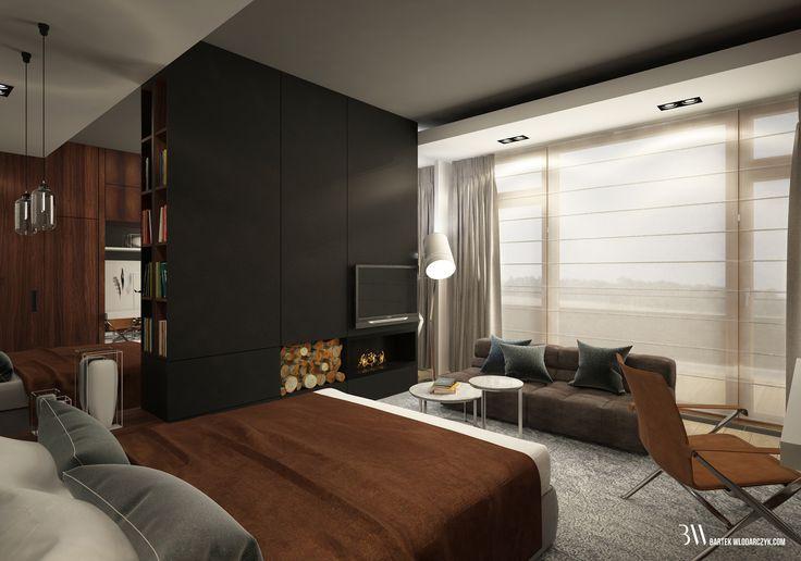 Sypialnia z widokiem na biokominek, kanapą Tufty Time firmy B&B Italia, lampą Fork firmy Diesel oraz lampą Oda Small firmy Pulpo
