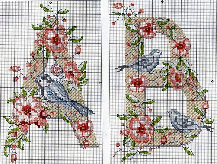 "How I WISH I could find the rest of this alphabet with birds and roses!  Corazón cosas preciosas: Punto de Cruz: ""Alfabetos florales"""