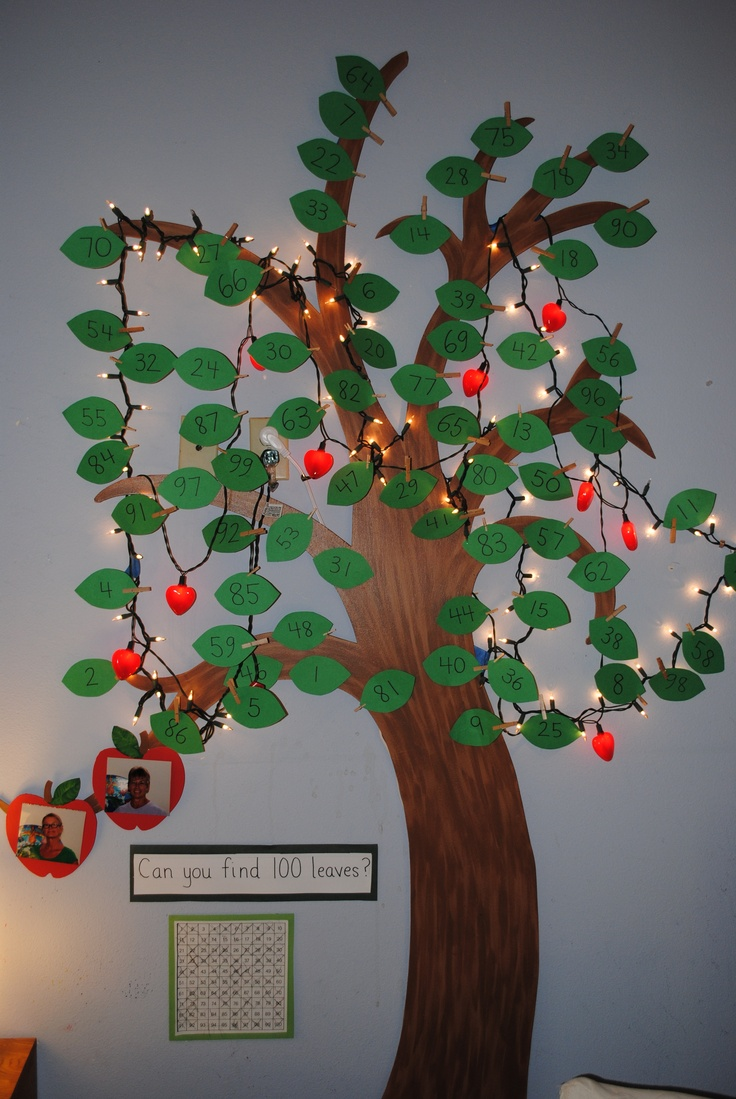 Build the excitement for the 100th day of school! I hid 100 leaves in the classroom. As the children find the leaves, they mark them off on the 100 chart taped to the wall. The children are so excited to see our tree filling up daily.