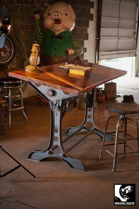Copper industrial drafting table. by SwingRiotCustom on Etsy