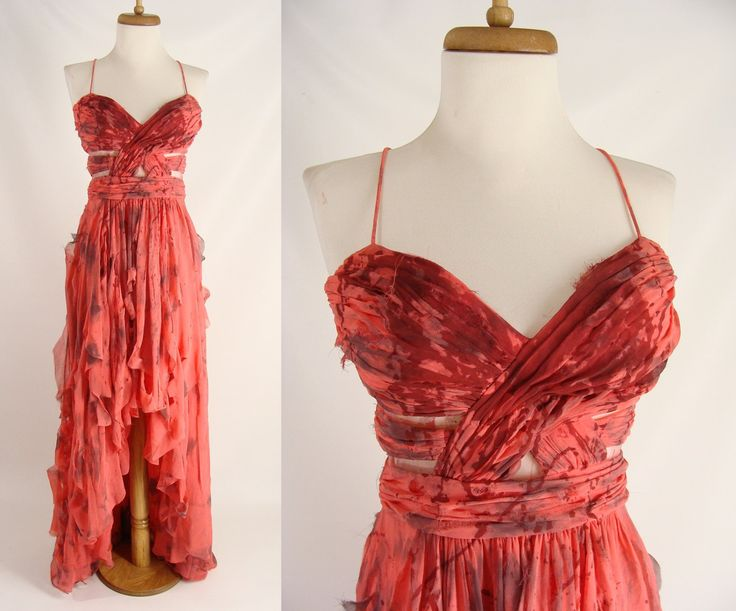 Upcycled Coral Cut Out Bodice High Low Dress Bloody Distressed Zombie Prom Halloween Costume size 4 S by wardrobetheglobe on Etsy