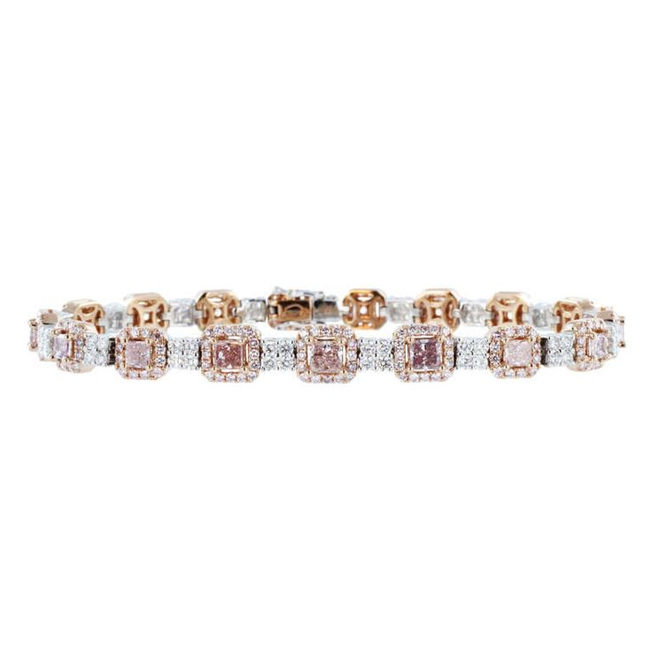 5.83 Carat Natural Pink Diamond & Colorless Diamond Bracelet | From a unique collection of vintage modern bracelets at http://www.1stdibs.com/jewelry/bracelets/modern-bracelets/