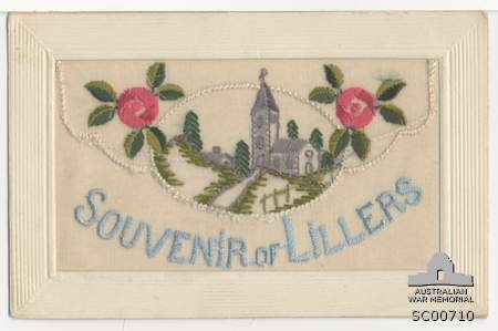 Embroidered silk postcard made in France during the First World War. This postcard features an envelope design with a grey church encircled in a white frame. Two pink flowers also appear in the design.
