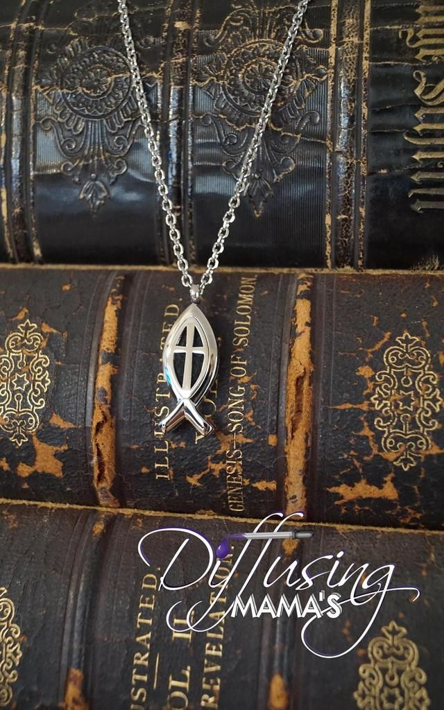 Ichthys Fish Silver Cross (15x34mm) Aromatherapy / Essential Oils Diffuser Locket Necklace