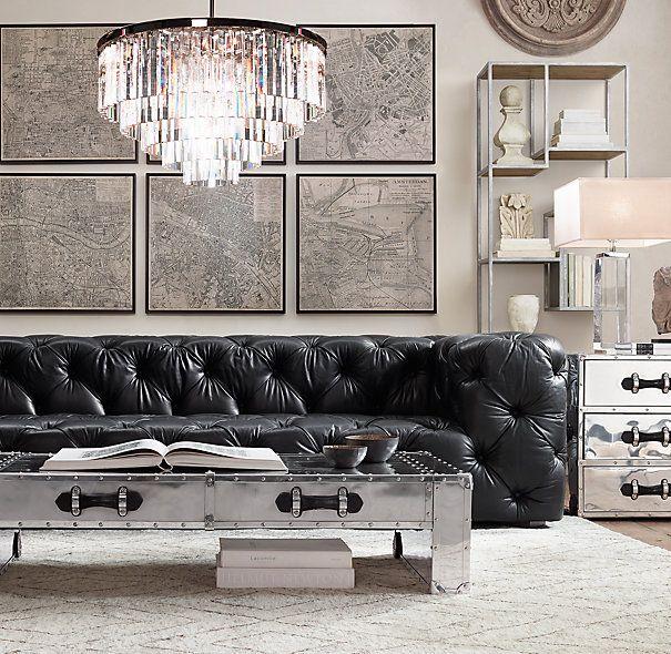 RH Soho Tufted Leather Sofa