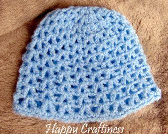 BLUE BABY HAT V stitch Newborn 0-3 months Hand Crochet Baby Gift Baby Birth / Christening gift - Edit Listing - Etsy
