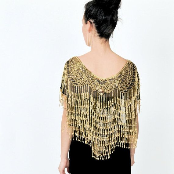 Gold beaded evening cape <3Fashion Fave, Beads Capelet, Vintage Gilded, Gold Beads, Dresses Room, Ball Dresses, Vintage Beads, Beads Capes, Vintage Style