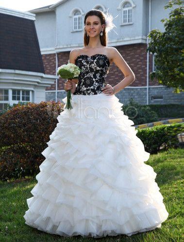 Vestito da sposa in organza con scollo a cuore da ballo a terra - Milanoo.com