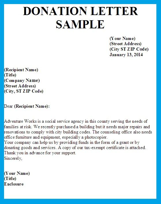 sample thank you letter donation