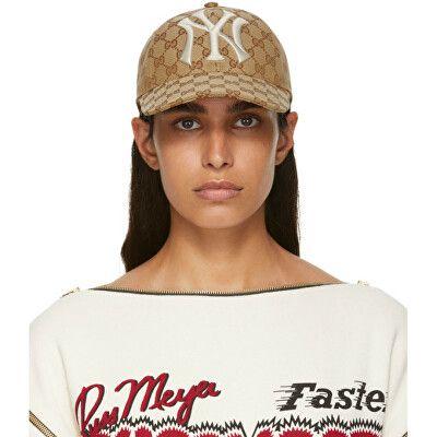 a857dacd89e1 Gucci Designer Tan NY Yankees Edition GG Supreme Patch Cap