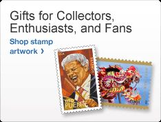 Gifts for Collectors, Enthusiasts, and Fans. Photo of two stamps. Shop stamp artwork >