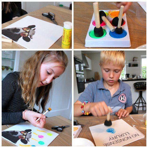 Kreativ aktivitet for børn. Lav et billede på malerplade med vandfarver og brug af skumstencil.