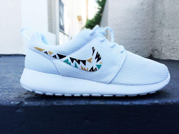Womens Custom Nike Roshe Run sneakers, triangle tribal design, hot pink, teal…