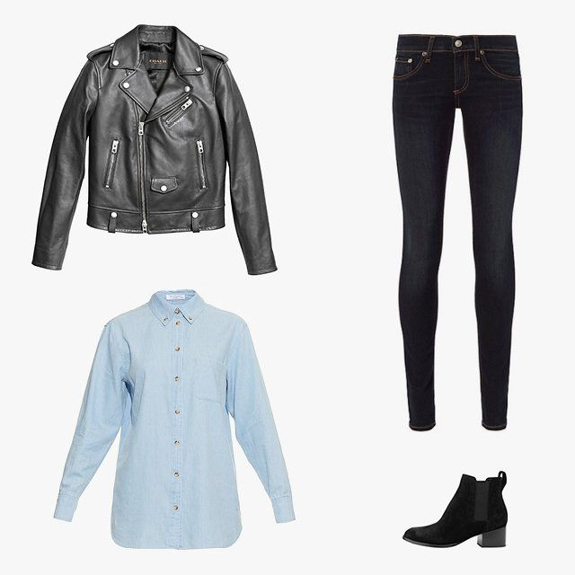Amanda Brooks, Vogue.com Art Producer - I very often find myself in a Canadian tuxedo on Friday. Dark skinny jeans from Rag
