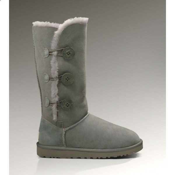 There is no doubt that the Womens UGG Bailey Button Triplet Boots 1873 in Grey can either be worn up or cuffed down adding a little variety depending on your style. The Bailey Button Triplet UGG Boots can either be worn up or cuffed down adding a little variety depending on your style.UGG Boots Clearance now also make some changes, that is, to bring more snow boots style. Whether it is winter or summer styles.