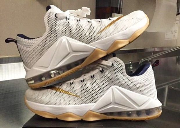 Nike LeBron 12 Low in White, Gold, and Gum