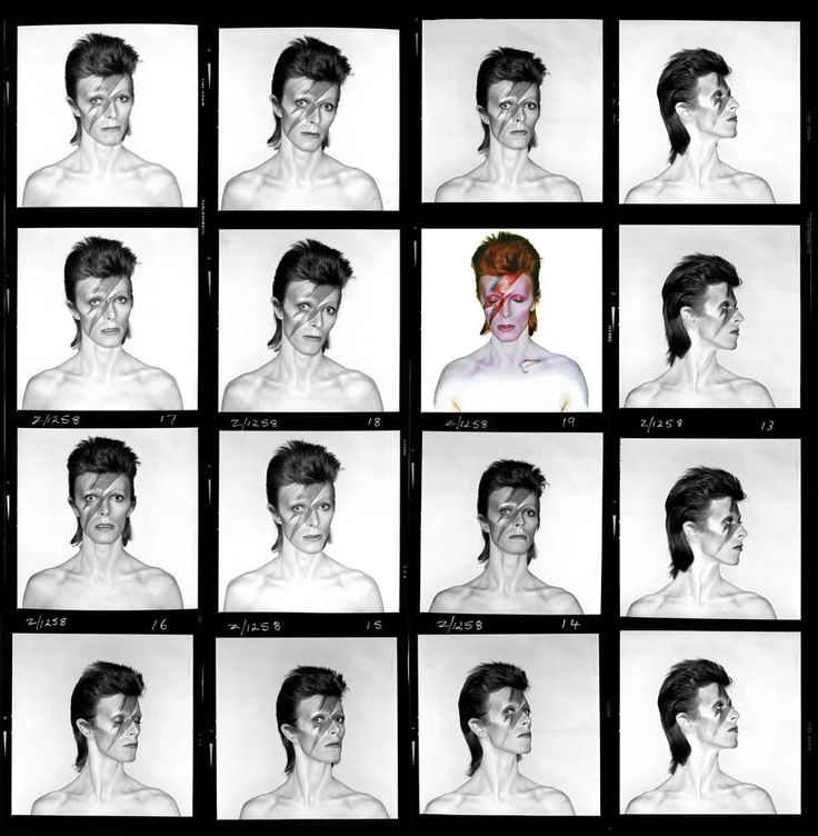 David Bowie, Aladdin Sane, Contact Sheet, 1973 © Brian Duffy ore info on the exhibition in Foam: http://www.foam.org/visit-foam/calendar/2013-exhibitions/bowie-by-duffy-photographs-72-80