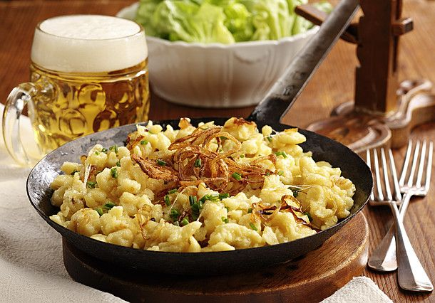 Macaroni & cheese à la Austria! This hearty dish tastes especially good after a walk in crisp mountain air.