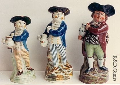 Antique pottery toby jugs of Hearty Good Fellow/Standing Sailor toby jugs.