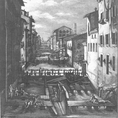 [Come eravamo] Bologna, il Canale delle Moline, forza motrice per molini e filatoi della seta.   Oggi se ne può vedere uno scorcio da una finestrella in via Piella. (Antonio Basoli, 1832 ) - Foto di Bologna com'era via @TurismoER