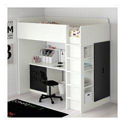 STUVA Letto soppalco/3 cassetti/2 ante, bianco, nero - 207x99x193 cm - IKEA