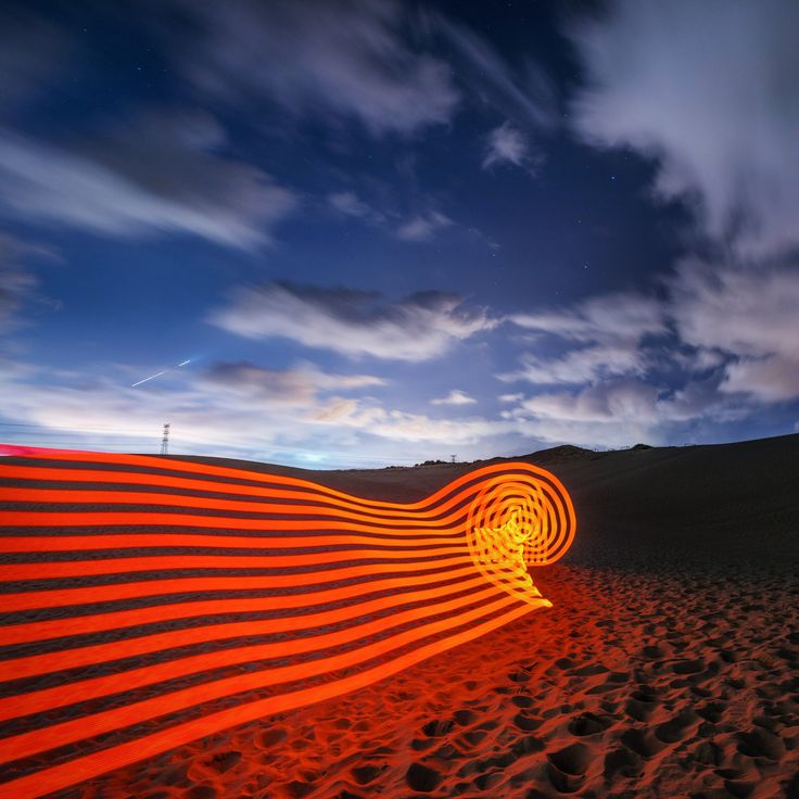 Red Ribbon in Sand  : lxkess   #pixelstick #ilovesydney #sydney #lightpainting  #nikon #d800