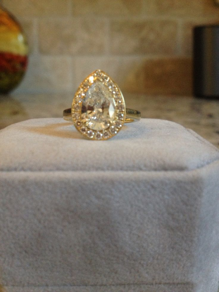 Yellow gold engagement ring Pear Shaped engagement teardrop engagement rin