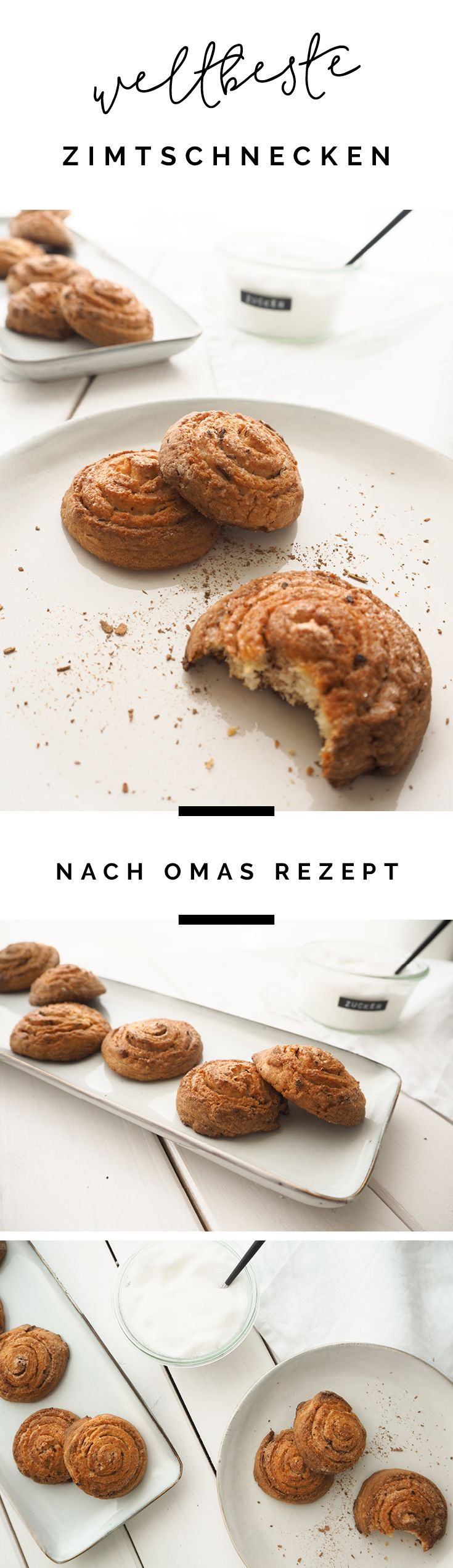 Das weltbeste Rezept für Zimtschnecken von meiner Oma. Ohne Hefeteig! Via sodapop-design.de