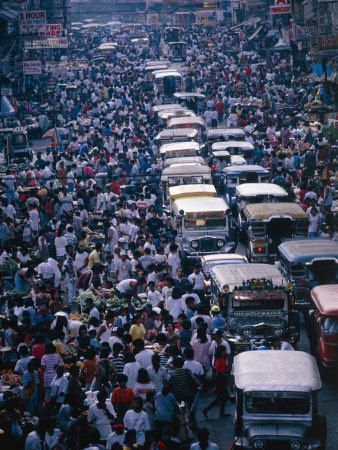 A crowded street in #Manila.