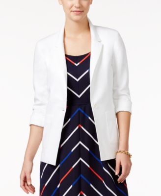 Tommy Hilfiger Linen One-Button Boyfriend Blazer