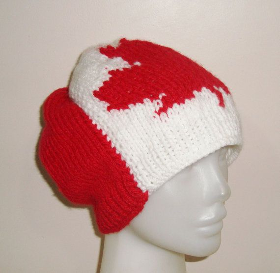 Red Leaf Canadian Flag Design Beanie  Womens Beanie by earflaphats, $50.00