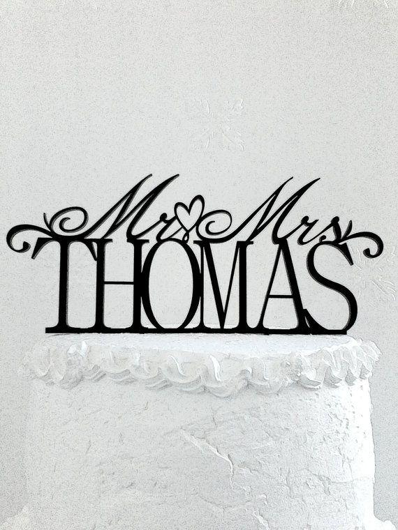 Mr and Mrs Thomas Wedding Cake Topper от CakeTopperDesign на Etsy