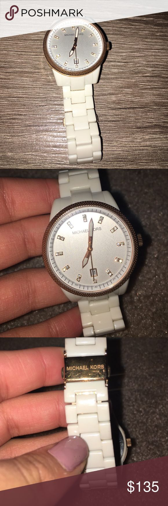 MK watch Authentic Rose gold trim and white plated Michael Kors watch, will replace the battery such a cute piece just never use a watch Michael Kors Jewelry