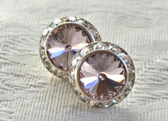 Swarovski light rose post earrings with clear by CreativityAtPlay, $18.00