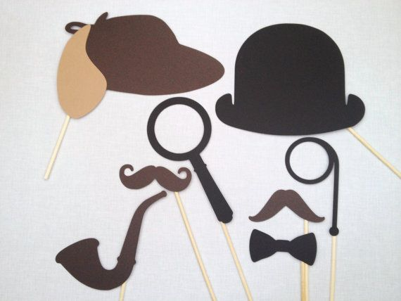 8 Sherlock Holmes and Watson Photo Booth Props  by CleverMarten, $14.00