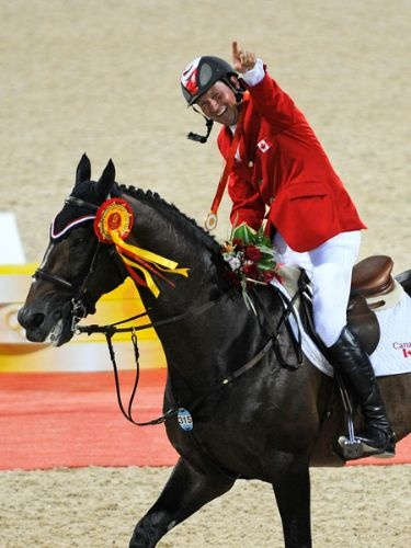 Eric Lamaze - member of the Canadian equestrian show jumping team. Knocked one rail during entire 2008 Olympics. First equestrian athlete to win and individual gold medal for Canada