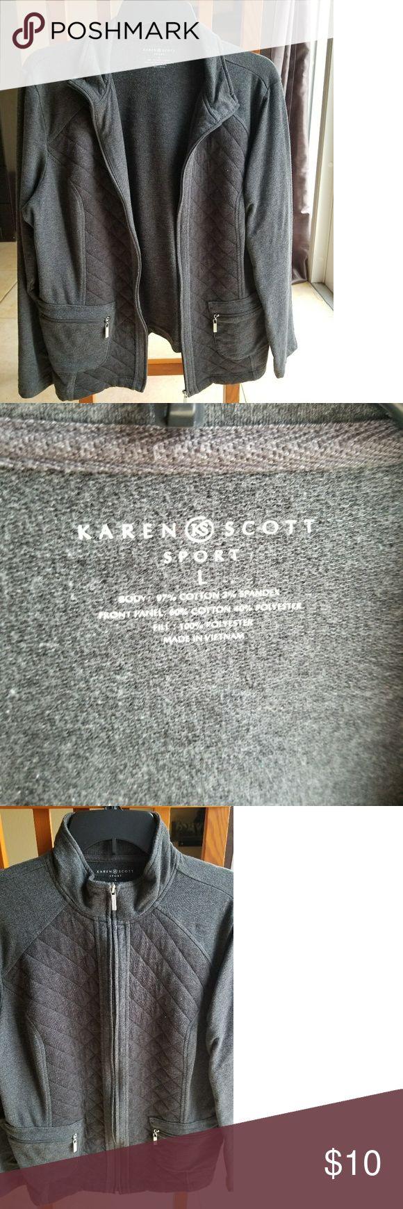 "Dark Gray Karen Scott Sport jacket size L Dark Gray color Karen Scott Sport jacket with zipper. Size L and measurements are from back neck to waist 24"", sleeve 23.5"" and bust size 20.5"". 2 pockets in the front with zipper. Sporty and great to match with jeans or slacks. Karen Scott Jackets & Coats Blazers"