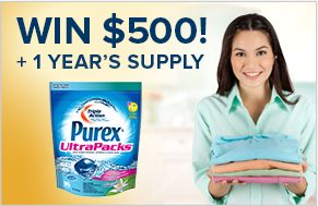 Enter to win $500 plus a year's supply of Purex UltraPacks detergent from Purex Canada!