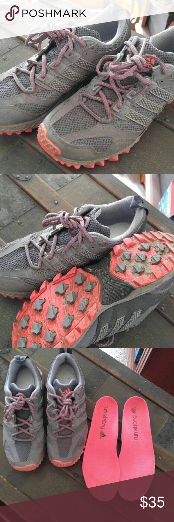 Adidas Trail Running Shoes In great/excellent condition, but dirty (trail ready). Inserts included, or room for most types of  insoles. The inserts are dirtier than they appear in the photo. Excellent traction for mud, gravel,  or uneven trails. Adidas Shoes Athletic Shoes